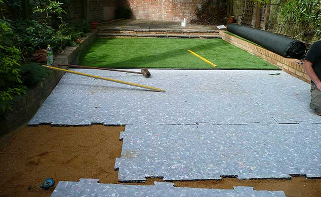 Starting the artificial grass lawn installation process