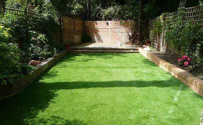 Artificial grass lawn installation North London